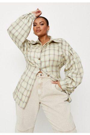 Missguided Women Corsets - Plus Size Green Plaid Corset Shirt