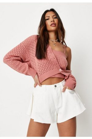 Missguided Women Cardigans - Rose Fluffy Pointelle Knit Cardigan