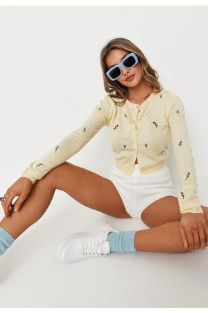 Missguided Yellow Floral Embroidered Knit Cardigan