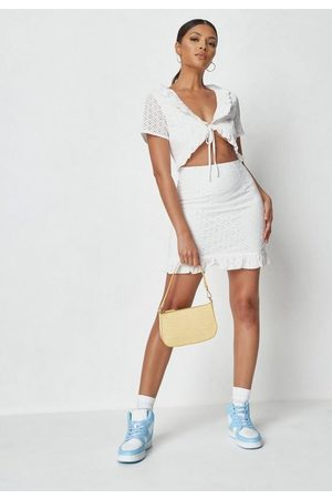 Missguided Frill Neck Cut Out Broderie Mini Dress