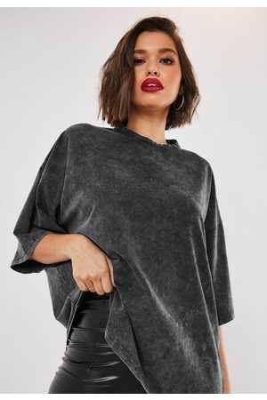 Missguided Gray Drop Shoulder Oversized Washed Top