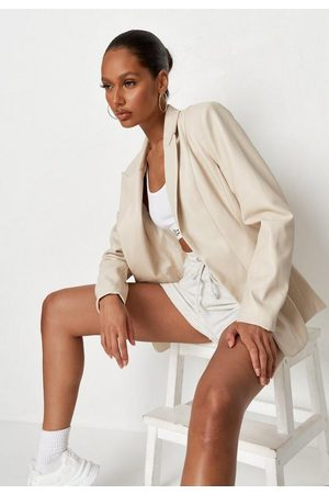 Missguided Ivory Faux Leather Fitted Blazer