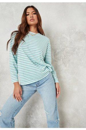 Missguided Petite Sage Stripe Drop Shoulder T Shirt