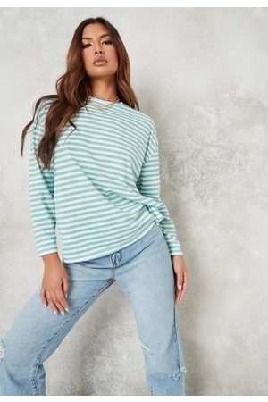Missguided Women Long Sleeve - Petite Sage Stripe Drop Shoulder T Shirt