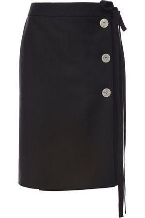 Prada Women's Button-Embellished Mohair-Blend Skirt - - Moda Operandi