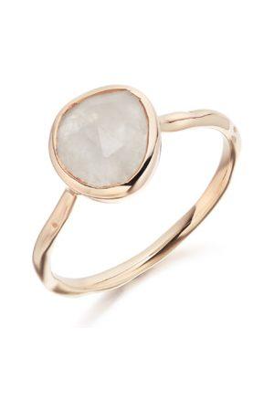 Monica Vinader Siren Moonstone Stacking Ring, Rose Gold Vermeil on Silver
