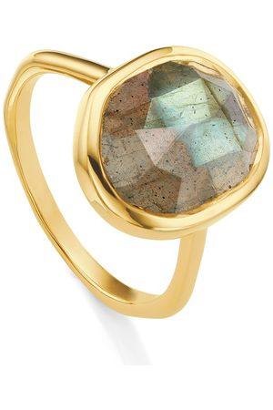 Monica Vinader Gold Siren Medium Stacking Ring Labradorite