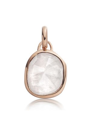 Monica Vinader Rose Gold Siren Medium Bezel Pendant Charm Moonstone