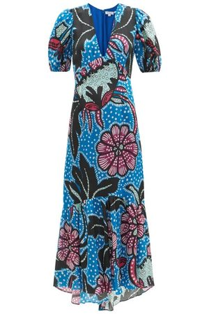 Rhode Women Printed Dresses - Esther Puff-sleeve Floral-print Poplin Maxi Dress - Womens - Print