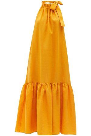 ASCENO Ibiza Tie-halterneck Linen Maxi Dress - Womens