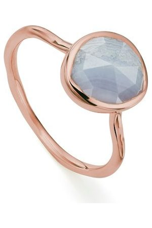 Monica Vinader Rose Gold Siren Stacking Ring Blue Lace Agate