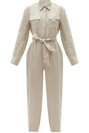 ASCENO Women Jumpsuits - Antwerp Linen Jumpsuit - Womens