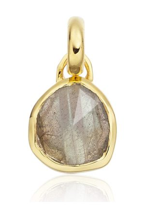 Monica Vinader Women Necklaces - Gold Siren Mini Bezel Pendant Charm Labradorite