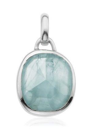 Monica Vinader Siren Aquamarine Medium Bezel Pendant, Sterling Silver