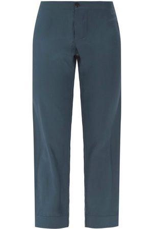 Asceno Women Pants - Antibes Sandwashed-silk Cropped-leg Trousers - Womens - Navy