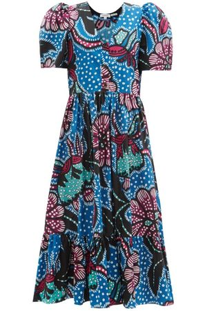 Rhode Nisha Puff-sleeve Cotton-poplin Midi Dress - Womens - Print