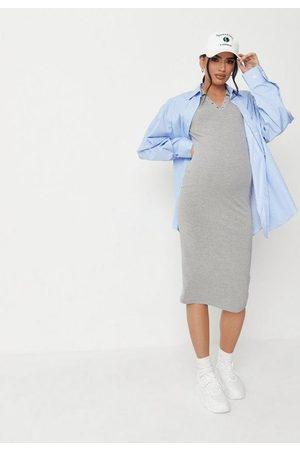 Missguided Marl Short Sleeve Collar Maternity Midi Dress