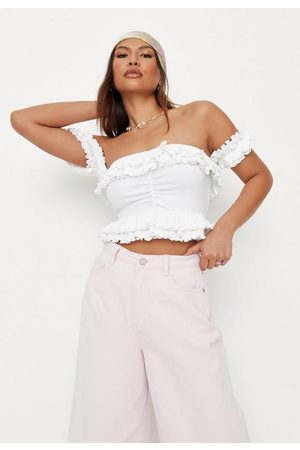 Missguided Rib Ruched Front Frill Bardot Crop Top