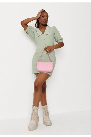 Missguided Sage Crinkle Button Down Collar Detail Mini Dress