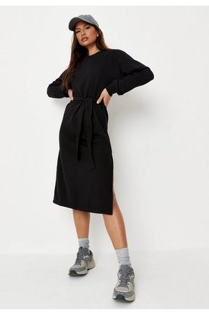 Missguided Basic Tie Belt Midi Sweater Dress