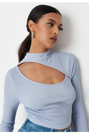 Missguided Women Crop Tops - Rib High Neck Cut Out Crop Top