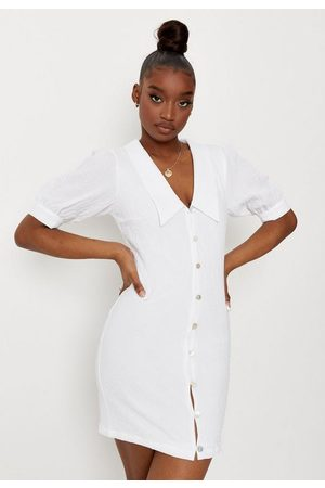 Missguided Crinkle Button Down Collar Detail Mini Dress