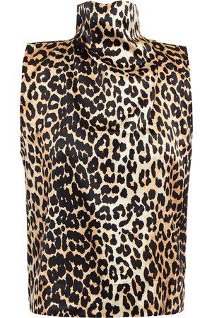 GANNI Woman Leopard-print Stretch-silk Satin Turtleneck Top Animal Print Size 32