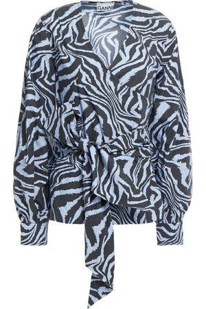 Ganni Woman Tiger-print Cotton-poplin Wrap Top Light Size 34