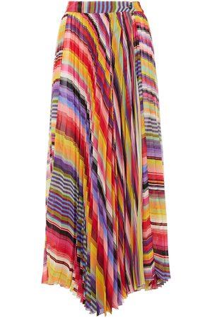 Etro Woman Asymmetric Pleated Striped Georgette Midi Wrap Skirt Size 38