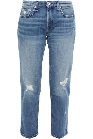 RAG&BONE Women Boyfriend Jeans - Woman Dre Cropped Distressed Mid-rise Boyfriend Jeans Mid Denim Size 23