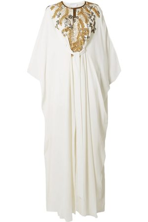 Marchesa Woman Belted Embellished Draped Silk Crepe De Chine Gown Ivory Size L