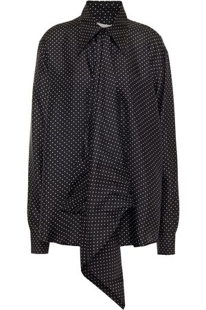 Victoria Beckham Woman Polka-dot Silk-twill Shirt Size 12