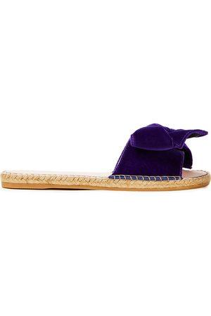 MANEBI Manebí Woman Monaco Bow-embellished Velvet Espadrille Slides Dark Size 35