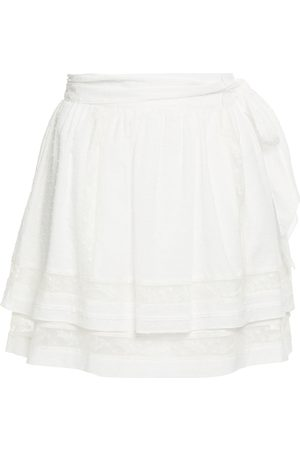 JOIE Women Mini Skirts - Woman Amerie Tiered Belted Fil Coupé Cotton-voile Mini Skirt Off- Size 0