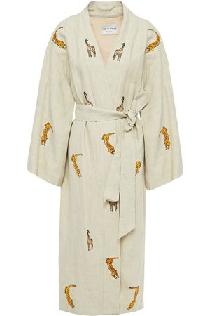 ETRO Women Kimonos - Woman Sequin-embellished Embroidered Linen Kimono Ecru Size L