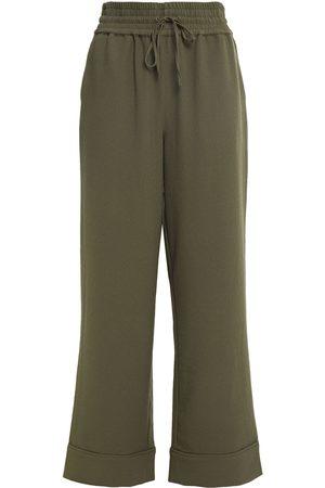 Ganni Women Wide Leg Pants - Woman Gathered Crepe Wide-leg Pants Army Size 32