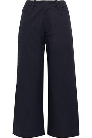 Deveaux Woman Elliott Cropped Cotton-twill Wide-leg Pants Midnight Size 6
