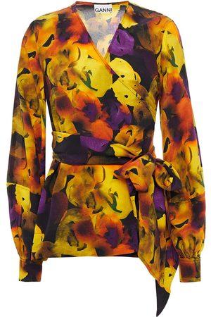 Ganni Women Wrap tops - Woman Printed Crepe De Chine Wrap Top Marigold Size 36