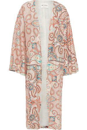 Etro Woman Printed Silk Crepe De Chine Kimono Coral Size L