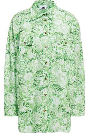 Ganni Women Long sleeves - Woman Floral-print Cotton-poplin Shirt Light Size 38