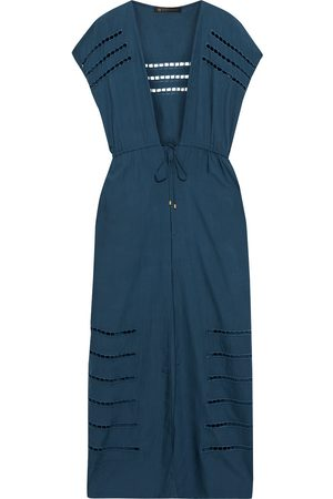VIX PAULA HERMANNY Women Beach Dresses - Woman Pamela Tie-front Crochet-trimmed Voile Kaftan Storm Size L