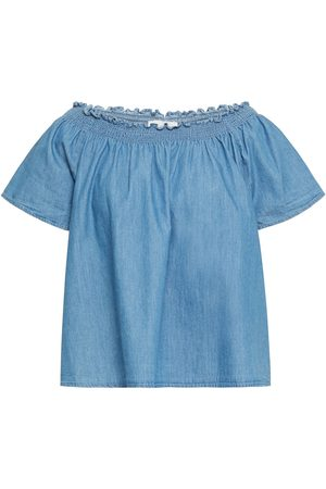 Joie Women Strapless Tops - Woman Amesti B Off-the-shoulder Shirred Cotton-chambray Top Mid Denim Size L