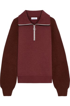 NAADAM Women Sweatshirts - Woman Ribbed Knit-paneled Cotton And Cashmere-blend Fleece Sweatshirt Claret Size S