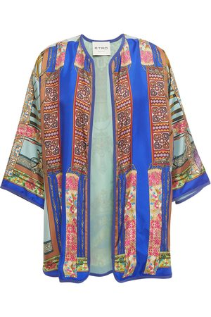 Etro Woman Grosgrain-trimmed Printed Silk-twill Kimono Size M