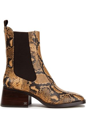 SAM EDELMAN Women Ankle Boots - Woman Dasha Faux Snake-effect Leather Ankle Boots Animal Print Size 10