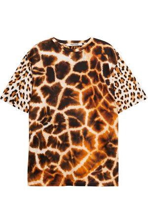 Roberto Cavalli Women Short Sleeve - Woman Paneled Leopard-print Cotton-jersey T-shirt Animal Print Size L