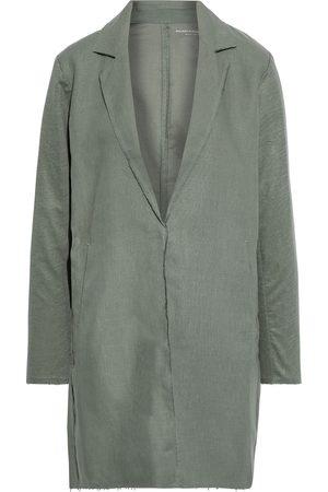 Majestic Woman Slub Jersey-paneled Linen Coat Grey Size 2