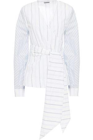 Ganni Women Wrap tops - Woman Paneled Striped Cotton-poplin Wrap Top Size 36