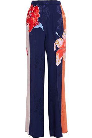 Etro Women Wide Leg Pants - Woman Floral-print Color-block Jacquard Wide-leg Pants Indigo Size 40