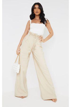 PRETTYLITTLETHING Women Wide Leg Pants - Stone Woven Paperbag Waist Wide Leg Pants